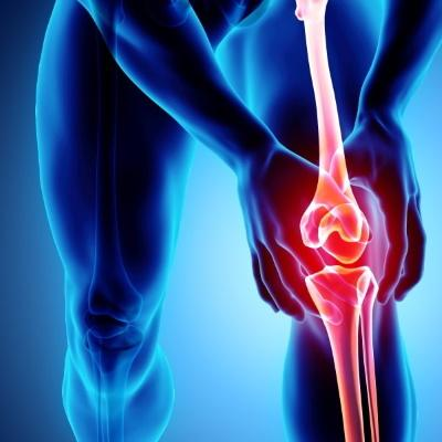 stylized image of knee throbbing red with pain